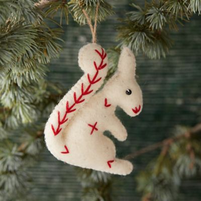 Felted Stitched Squirrel Ornament