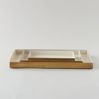 Enamel Decorative Tray, Cream