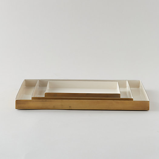View larger image of Enamel Decorative Tray, Cream