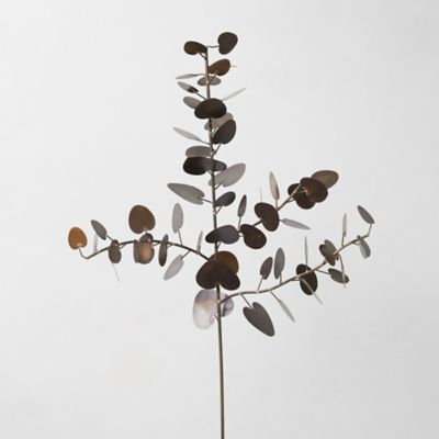 Antiqued Brass Eucalyptus Leaf Branch