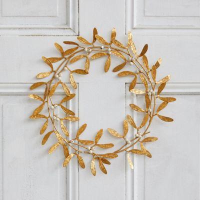Antiqued Gold Metal Mistletoe Wreath