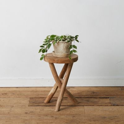 Cross Leg Teak Stool