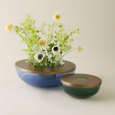 Metallic Top Low Profile Bouquet Vase