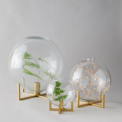 Glass Ball Vase + Brass Stand