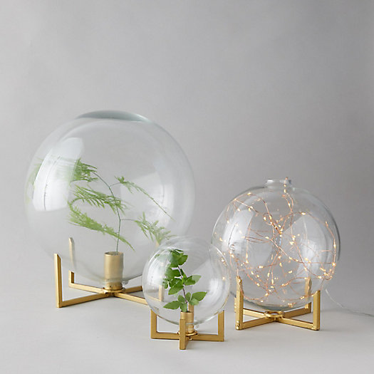 View larger image of Glass Ball Vase + Brass Stand