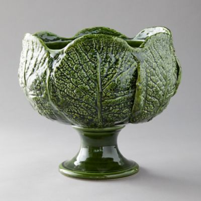 Kale Leaf Footed Serving Bowl