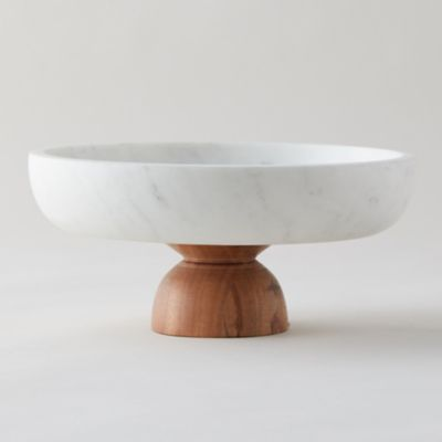 Marble + Acacia Wood Footed Serving Bowl