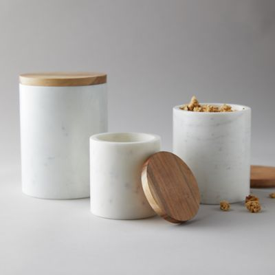 White Marble + Acacia Wood Canister