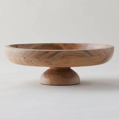Acacia Wood Footed Serving Bowl