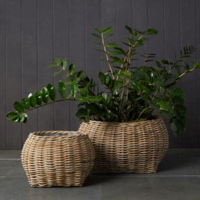 Rattan Bowl Basket Planter