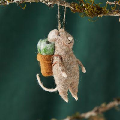 Mouse + Succulents Felt Ornament