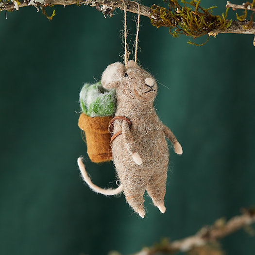 View larger image of Mouse + Succulents Felt Ornament