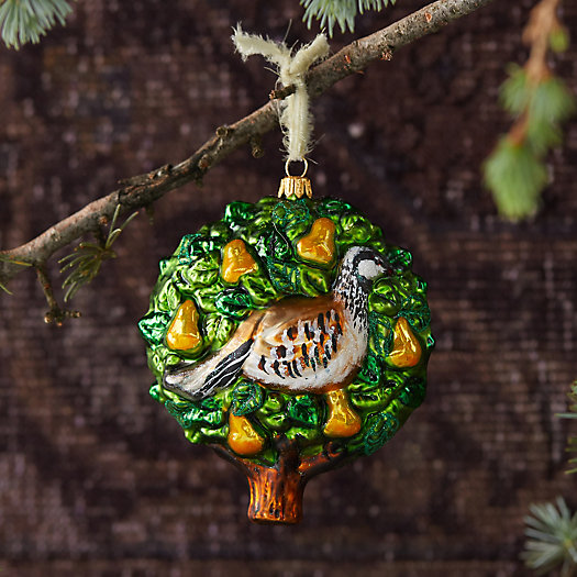 View larger image of Patridge in a Pear Tree Glass Ornament