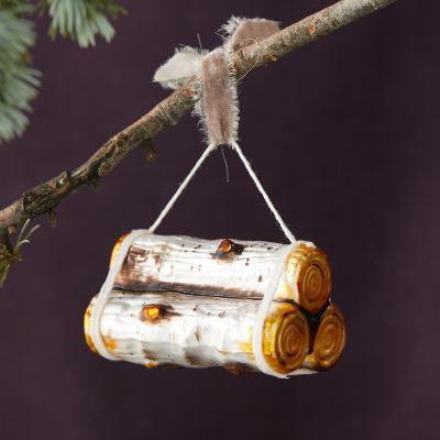 Birch Logs Glass Ornament