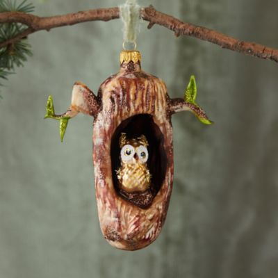 Owl in a Tree Glass Ornament