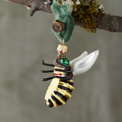 Bumble Bee Glitter Glass Ornament