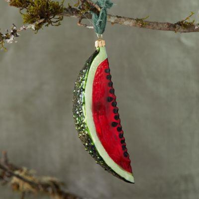 Juicy Watermelon Glitter Glass Ornament