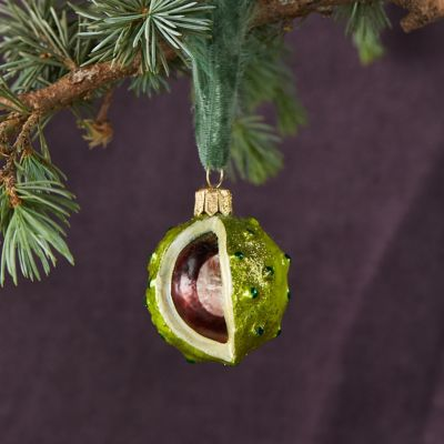 Christmas Chestnut Glass Ornament