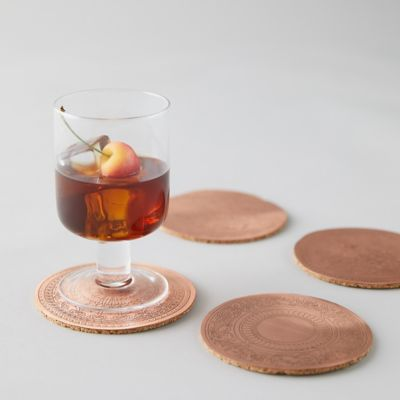 Copper + Cork Coaster Set