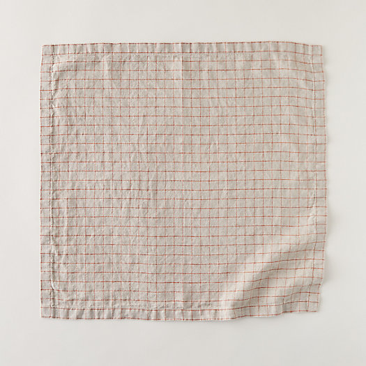 View larger image of Lithuanian Linen Napkin, Stonewash Check