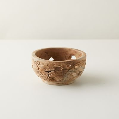 Carved Teak Serving Bowl