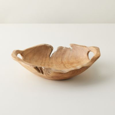 Oversized Teak Serving Bowl with Handles