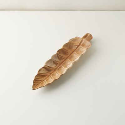 Carved Teak Leaf Serving Board