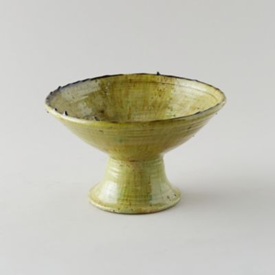 Footed Citrine Ceramic Serving Bowl