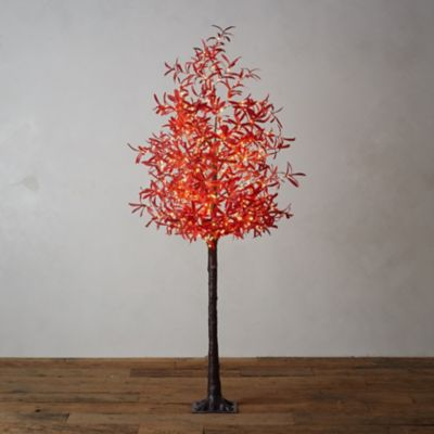 LED Faux Leaf Tree, Red