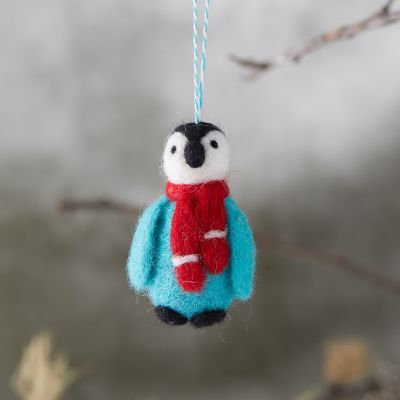 Felted Wool Penguin Ornament