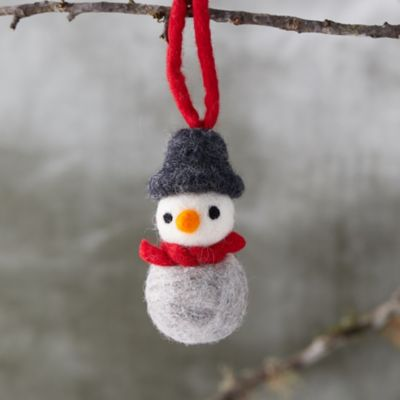 Felted Wool Snowman Ornament