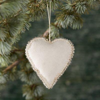 Beaded Fabric Heart Ornament
