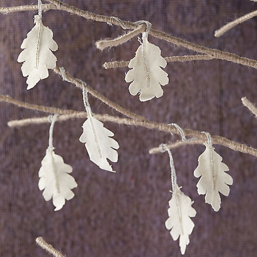 View larger image of Beaded Fabric Leaf Ornaments, Set of 6