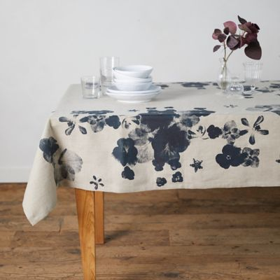 Indigo Floral Linen Tablecloth
