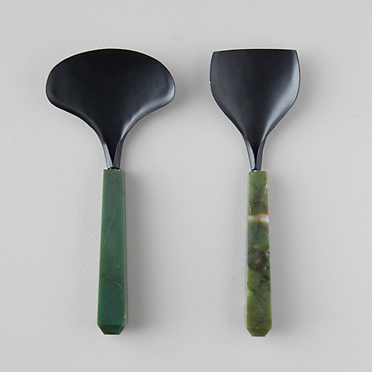 View larger image of Matte Brass + Green Stone Servers