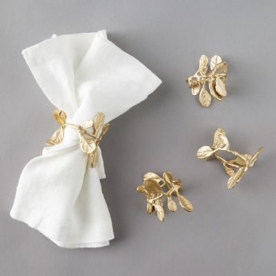 Budding Leaf Brass Napkin Ring Set