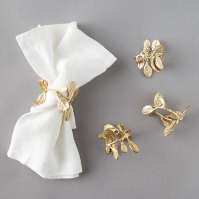 Budding Leaf Brass Napkin Ring Set