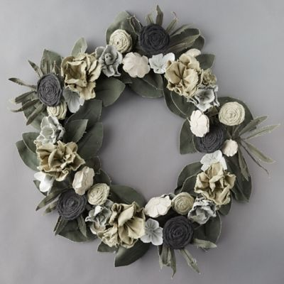 Vintage Canvas Ivory Flower + Green Leaves Wreath