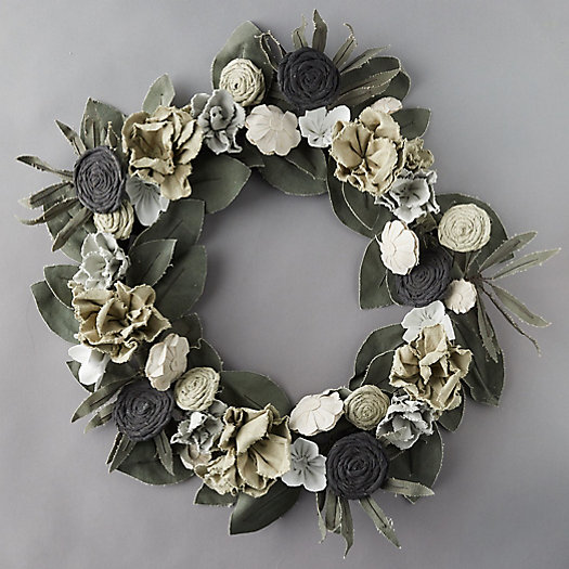 View larger image of Vintage Canvas Ivory Flower + Green Leaves Wreath