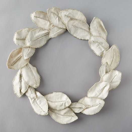 View larger image of Beaded Fabric Magnolia Leaf Wreath