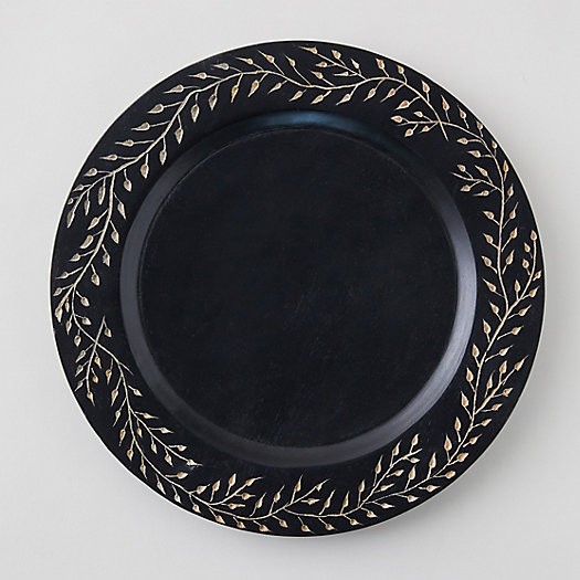 View larger image of Engraved Floral Mango Wood Charger