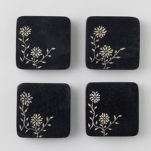 View larger image of Engraved Floral Mango Wood Coaster Set