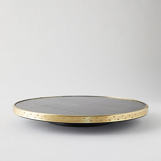 View larger image of Mango Wood + Brass Lazy Susan