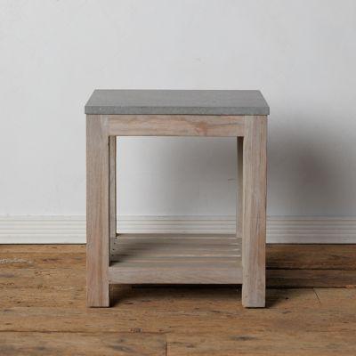 Stone + Teak End Table