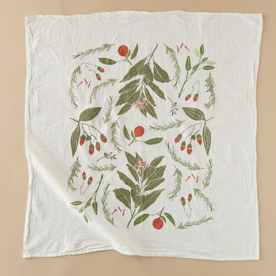 Festive Flowers Tea Towel