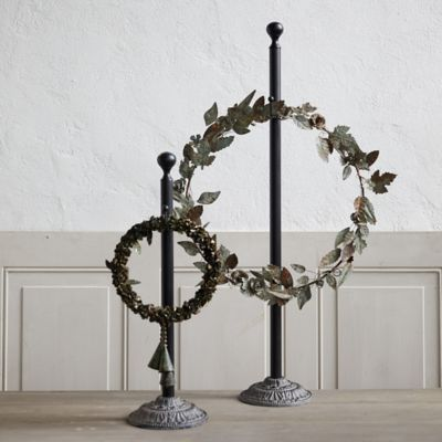 Antiqued Iron Standing Wreath Hanger
