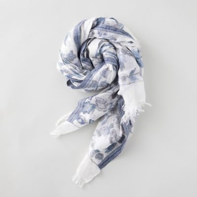 Indigo Blue Floral Scarf