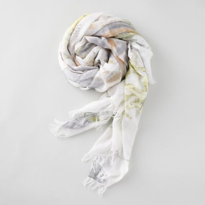 Spring Leaves Ivory Scarf