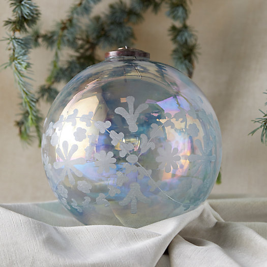 View larger image of Etched Floral Iridescent Globe Ornament