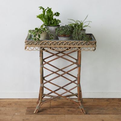 Zinc Tray + Rattan Plant Stand